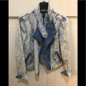 Forever 21 Acid Wash Blue Denim Moto Jacket